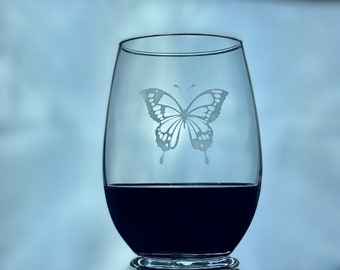 Etched Butterfly Wine Glass Tumbler - Stemless Wine Glasses - Personalized Gift for Wine Lovers
