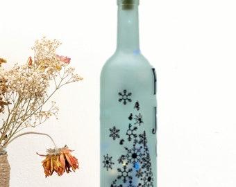 Frosted Wine Bottle Decor - Christmas LED Lantern - Peace Love Joy - Light Up Wine Bottle - Etched Holiday Bottle Lamp