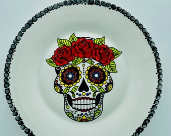 Hand Painted Plate - Day of The Dead Decor - Halloween Sugar Skull Wall Decoration - Spooky Wall Hanging