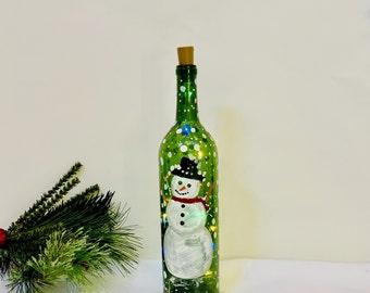 Hand Painted Snowman Bottle - Colorful Christmas Bottle Lamp - Light Up Wine Bottle Decor - Festive Bottle Centerpiece