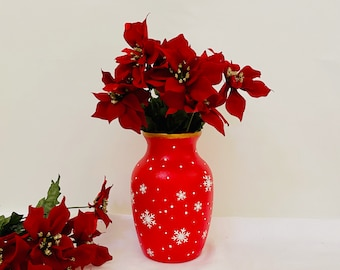 Red Christmas Glass Vase - Hand Painted White Snowflake Vase Decor - Poinsettia Centerpiece