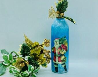 Light Up Christmas Bottle Decor - Santa Wine Bottle Lantern - Vintage Sant Home Decor - Decoupage Holiday Bottle Centerpiece - Shelf Decor