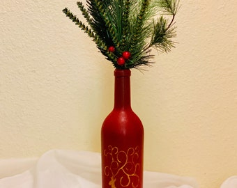 Hand Painted Bottle Decor - Pine Branch Home Decoration - Christmas Red Bottle Centerpiece - Wine Bottle Shelf Decor