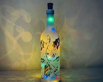 Festive and Colorful Wine Bottle Lantern, Christmas Holly Berry with Vine Bottle Lamp, Christmas Wine Bottle Light, A Cork LED Included