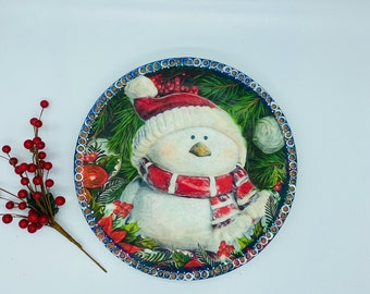 Christmas Decorative Plate - Decoupage Snowman Plate - Holiday Wall Decor - Kitchen Wall Hanging