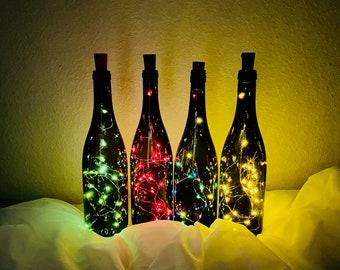 Wine Bottle Light with Cork LED - Light Up Bottle Decor