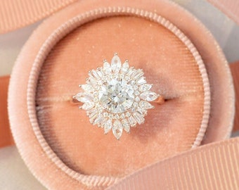Vintage art deco 14k rose gold engagement ring, Halo baguette natural diamond with center round cut moissanite, Anniversary gift for her