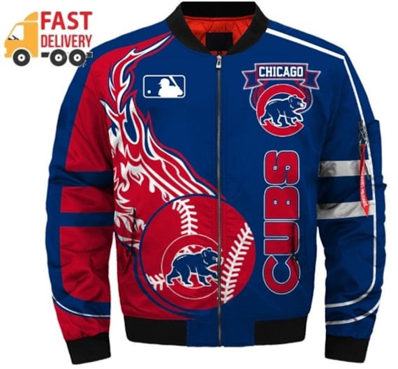 low priced 51560 aa1e8 New Jacket Chicago Cubs Baseball team Men zipper Print 3D Casual Polyester  / Cotton