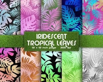 INSTANT DOWNLOAD Orange Foil Tropical Leaves Digital Paper Exotic Digital Paper Palm Colors Digital Paper Patterns