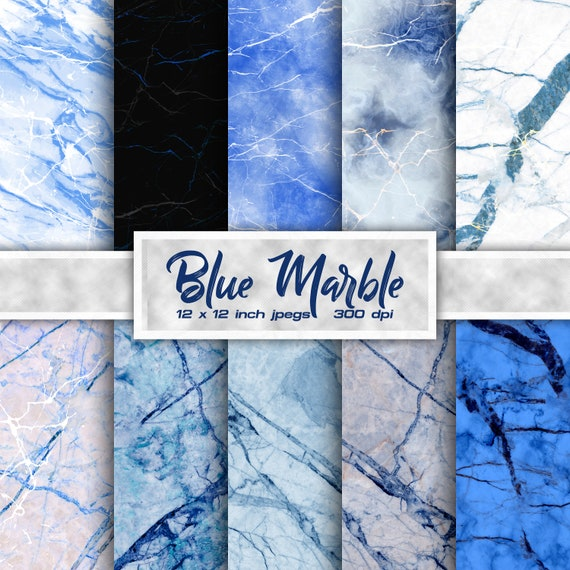 Digital paper blue marble instant download digital marble paper hand made craft paperdigital paper pack digital marble download blue
