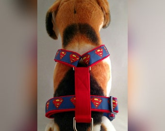 01035ee97cc6 Superman Dog Harness with Leash and Seat Belt Option