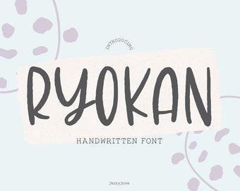 Ryoko Font, Sans Serif font, Handwriting, Bold Font, Distressed Font, Hand Lettered, Cricut Font, Logo Font, tall, Font Bundle, Sans, brush