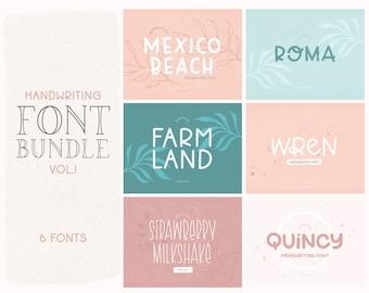 Handwriting Font Bundle Vol. 1 - Hand Lettered Font Bundle - Sans Fonts - Handwritten Fonts - Basic Fonts - Luxury Fonts - Feminine Font