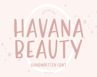 Havana Beauty Font, Sans Serif font, Handwriting, Bold Font, Hand Lettered, Cricut Font, Logo Font, tall, Font Bundle, Sans Type, Cute font