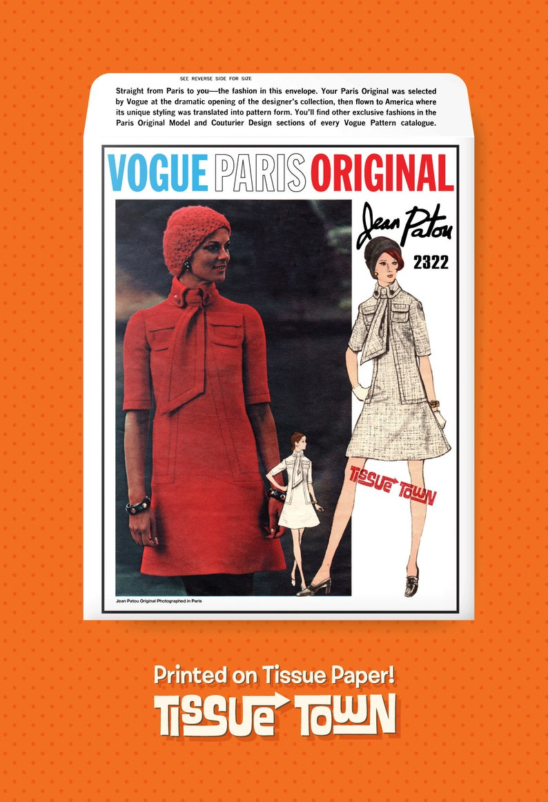 Vogue Vogue Paris Original 2322 1960s Size 12 Retro Vintage Reproduction Sewing Pattern Tissue Paper Reprint Jean Patou