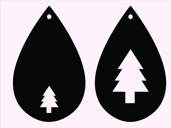 Christmas Tree Earrings Svg Tear Drop Earring Cut Files For Silhouette And Cricut