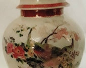 Satsuma 1979 Japanese Double gold peacock ginger jar with lid