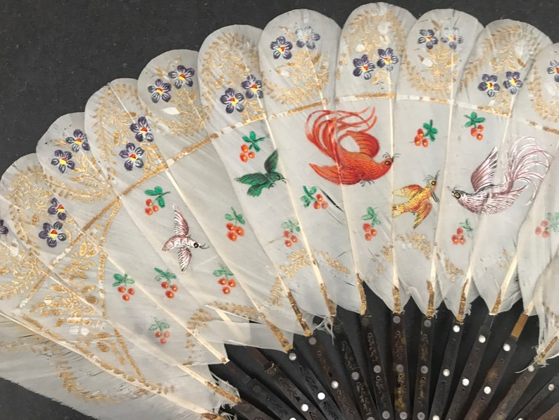 France 1820-1830 fan of painted duck feathers  antique French gouache-painted white duck/'s feathers fan