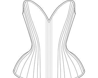 "Sparklewren 'Bird's Wing' multi-panelled overbust corset digital garment pattern - 19-35"" waists"