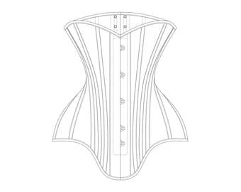 "1900s Midbust Edwardian 4 Panel Corset PDF Pattern - Original Historical Garment Size 21"" Waist"