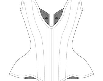 "Sparklewren Plunge Overbust corset digital garment pattern- 21-35"" waists"