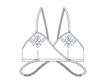 c. 1930s Kestos Style Bra Pattern PDF - Original Historical Garment Pattern Size S/M - Embroidery