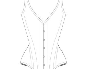 "Sparklewren 'Butterfly' Winged Overbust corset digital garment pattern- 19-35"" waists"