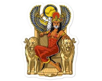 Egyptian Goddess Sekhmet Sticker - Ancient Egyptian Queen Lioness God Decals - Egyptian Mythology Gifts - Egyptian Lioness Deity Sticker