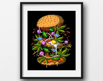 cannabis creative. man and woman Weed Lovers Fine art print fantasy human love multi-colored psychedelic trippy
