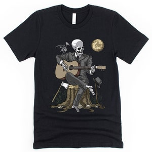 Skeleton Playing Guitar Canvas Poster Gothic Skull Wall Decor Horror Spooky Gifts Macabre Scary Room Decor Fantasy Goth Art Print