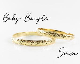 5mm Baby Bangle / Hamilton Hawaiian Heirloom Gold Plated Jewelry, Baby Bracelet, Baby Jewelry, Keiki Bangles, Kid's Bangles, Baby Gift