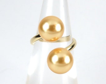 Double Pearl Cuff Ring  Hamilton Gold Ring with Double Tahitian Shell Pearl Adjustable
