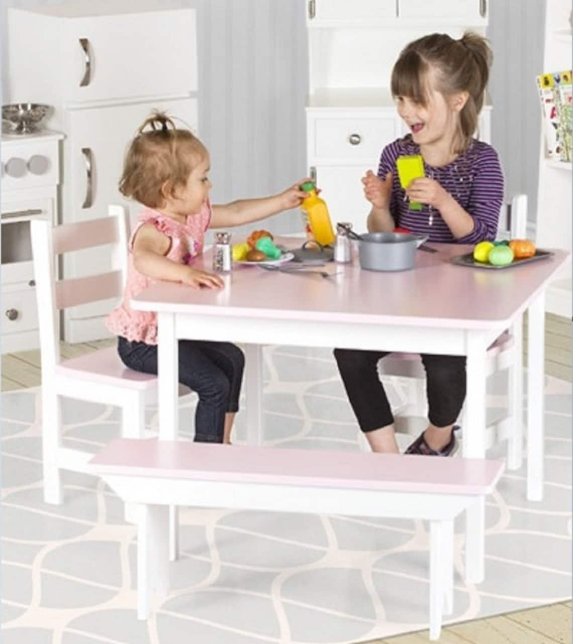 CHILDREN'S TABLE White Pink Gray - Amish Handmade Youth Play Furniture Montessori Preschool Toddler Craft Desk Solid Wood Playroom USA