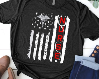 1d2ea7b4 Patriotic American USA Flag Correctional & RN Nurse Tshirt