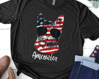6e46e714 Cute Cat Ameowica American Flag 4th of July Patriotic Gifts T-Shirt