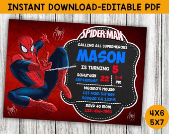 Spiderman Invite Etsy