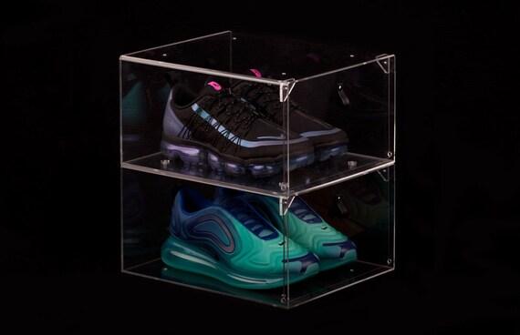 Transpa Drop Front Shoe Box, Shoe Glass Case