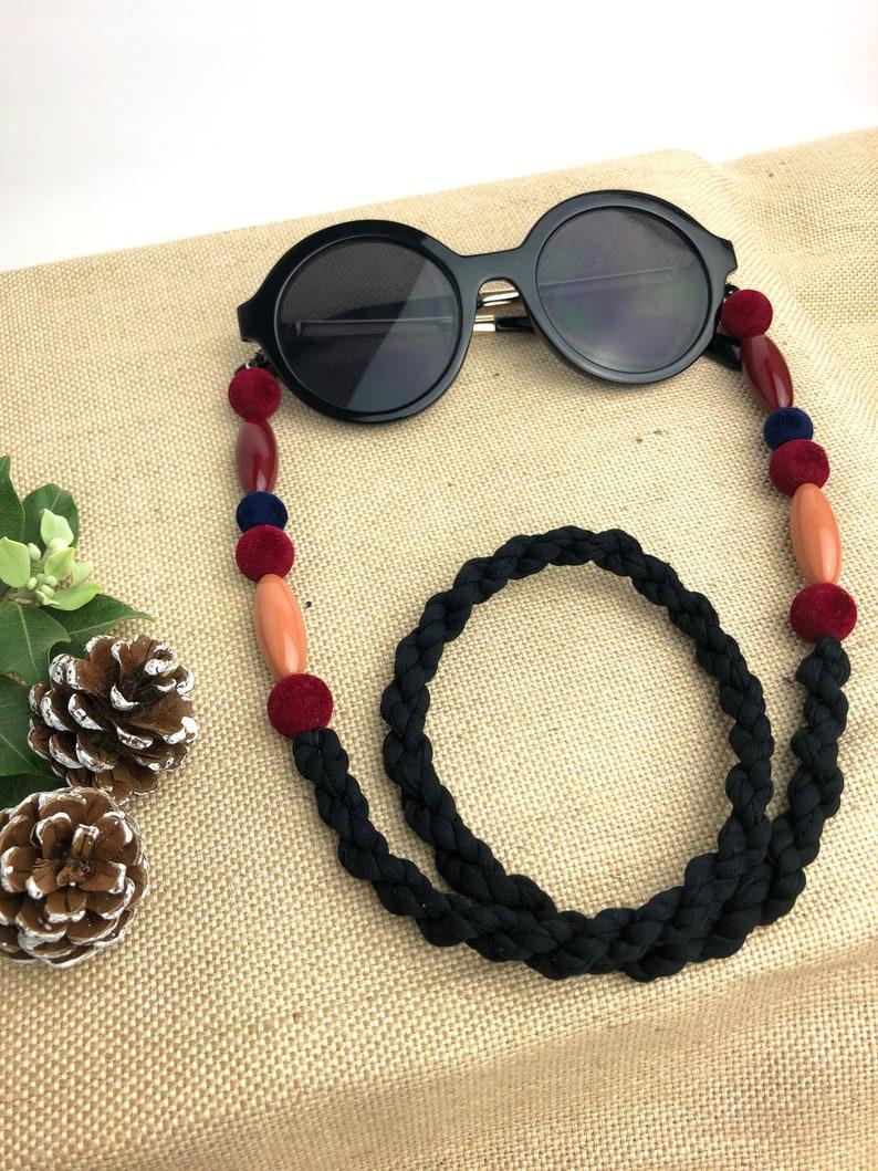 Glasses chain Garnet cord for glasses Chain for garnet and beige glasses Gifts for her Winter glasses chain Tirolinas.