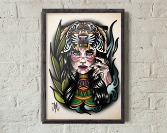 fd4039291 Girl Tiger Head | Neo-Traditional Style Illustration