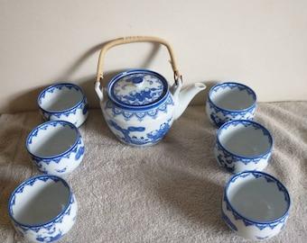Vintage Imari Arita Ware Tea Set Vintage Gray and Black Tea Set with Four Cups and Tea Pot with Brewing Mesh Gray and Black Flower Tea Set