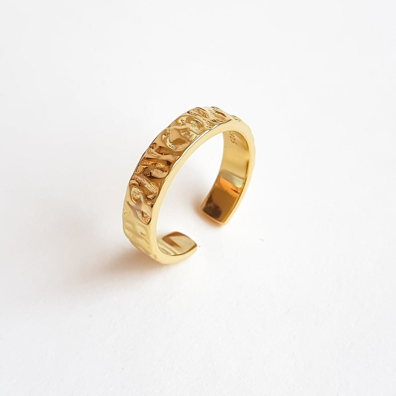 adjustable ring. Gold and Rhodium Plated 925 Sterling Silver stackable ring Silver Chunky Ring PAULETTE \u00b7 Hammered Ring