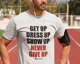 Motivation Short-Sleeve Unisex T-Shirt | Never Give Up -wht