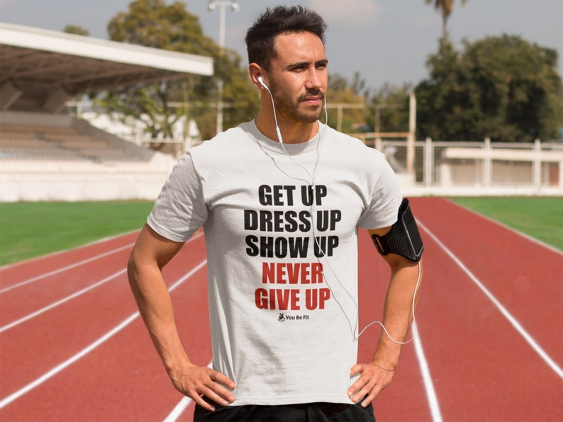 Motivation Short-Sleeve Unisex T-Shirt  Never Give Up wht image 1