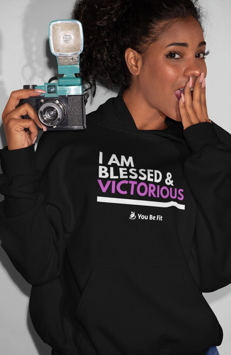 Motivation  Champion Hoodie  I Am Blessed & Victorious image 1