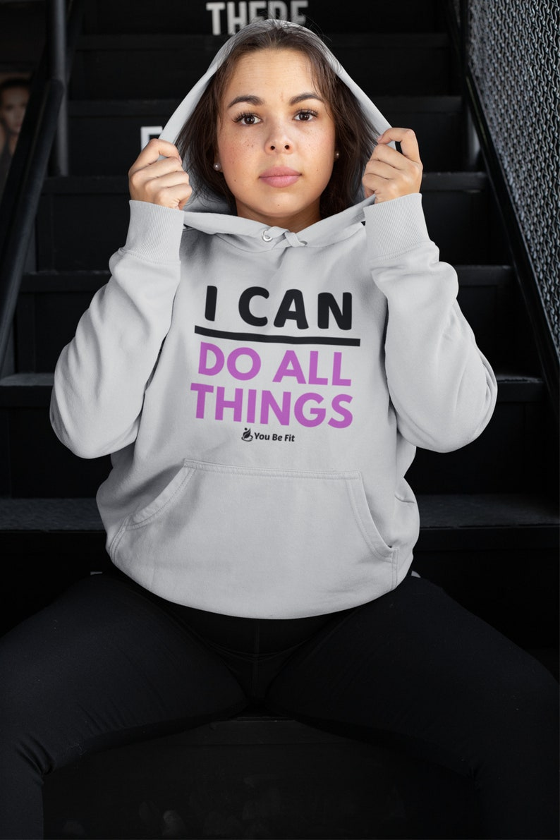 Motivation  Champion Hoodie  I Can Do All Things Gray image 1