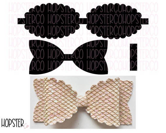 Hair Bow Svg Hair Bow Template Bow Tempalte Scalloped Bow Etsy