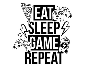 Can Cooler Graphics - Eat Sleep Game Repeat - SVG, PNG Files for Cricut, HTV, Instant Digital Download