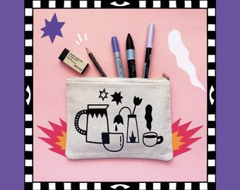 Still life, Canvas Pouch Bag, Pencil Case, Makeup Bag