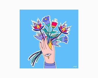Flowers, Illustration, Print