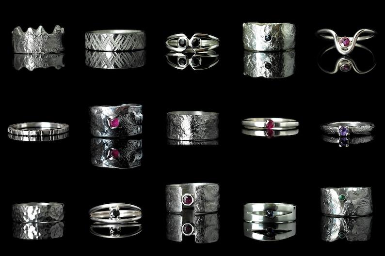Unique Statement Orange Sapphire Ring wide textured silver ring with genuine diamond cut Sapphire for men /& women handmade statement ring.